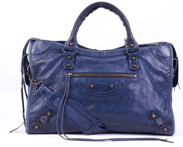 BALENCIAGA Navy Blue Leather City Satchel Shoulder Bag Handbag