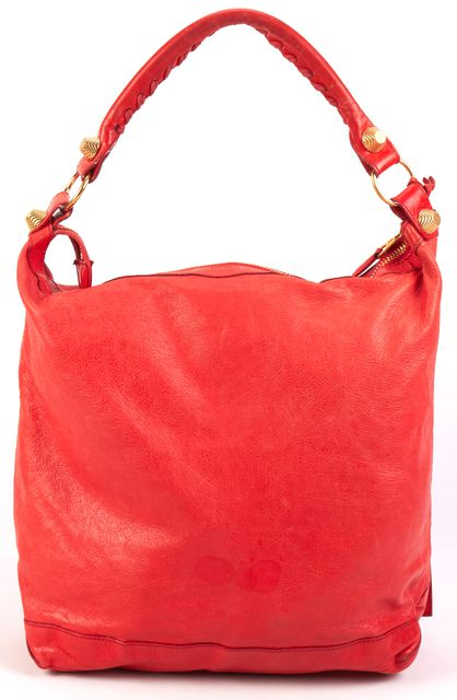 BALENCIAGA Red Leather Hobo Handbag
