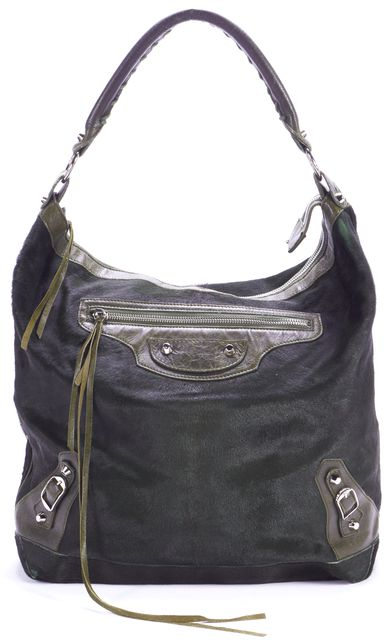 BALENCIAGA Hunter Green Calf Hair Leather Hobo Shoulder Bag