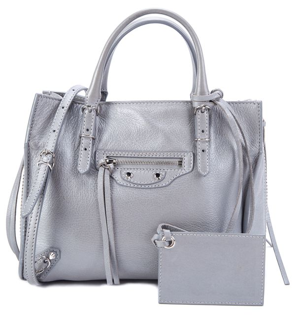 BALENCIAGA Gray Metallic Leather Motorcross Classic Edge Mini City Tote Handbag