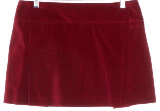 BURBERRY LONDON Red Velvour Cotton Mini Skirt
