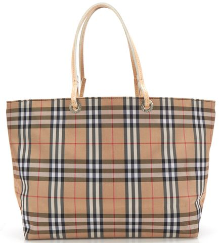BURBERRY LONDON Beige Brown House Check Canvas Small Tote Handbag