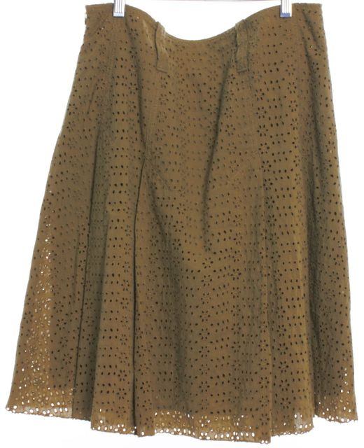 BURBERRY LONDON Green Eyelet Pleated Skirt