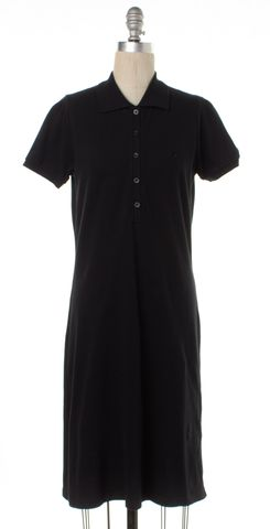 BURBERRY LONDON Black Short Sleeve Cotton Polo Shift Dress
