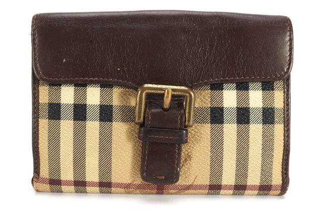 BURBERRY LONDON Beige Brown Leather Trim Haymarket Wallet
