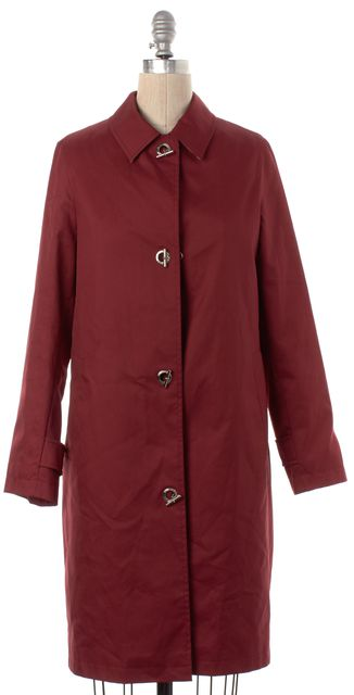 BURBERRY LONDON Red 100% Wool Button Down Long Coat