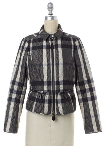 BURBERRY LONDON Gray White Multi Plaid Puffer Zip Jacket