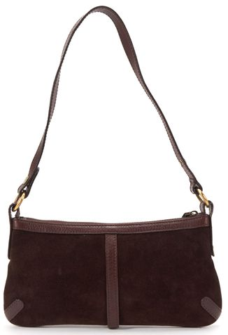 BURBERRY LONDON Dark Brown Suede Leather Trim Small Shoulder Bag