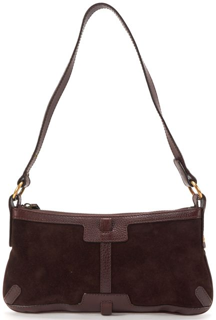 BURBERRY LONDON Dark Brown Suede Leather Trim Small Shoulder Bag