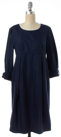BURBERRY LONDON Navy Blue Wool Buckled 3/4 Sleeve Empire Waist Dress