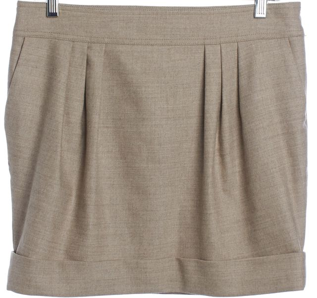 BURBERRY LONDON Beige Wool Pleated Straight Skirt