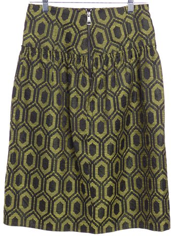 BURBERRY LONDON Yellow Black Geometric Straight Skirt