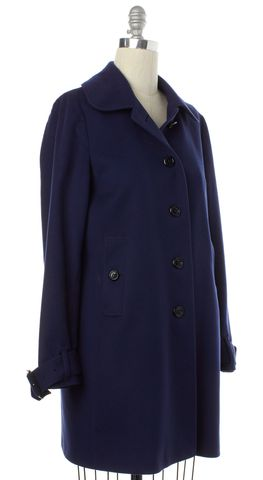 BURBERRY LONDON Blue Wool Button Down Basic Coat