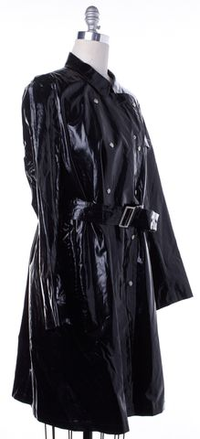 BURBERRY LONDON Shiny Black Coated Canvas Trench Jacket Size 16