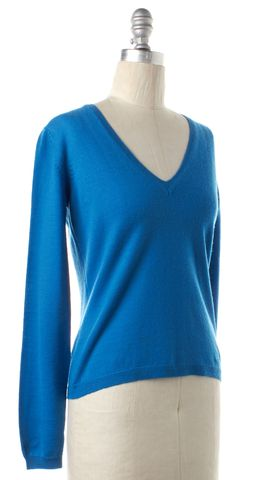 BURBERRY LONDON Blue Wool Knit Long Sleeve V Neck Sweater