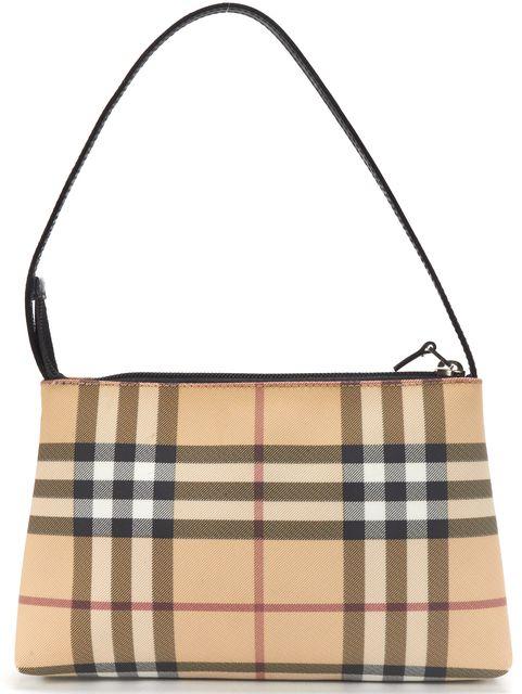 BURBERRY LONDON Beige Check Canvas Pochette Top Handle Bag