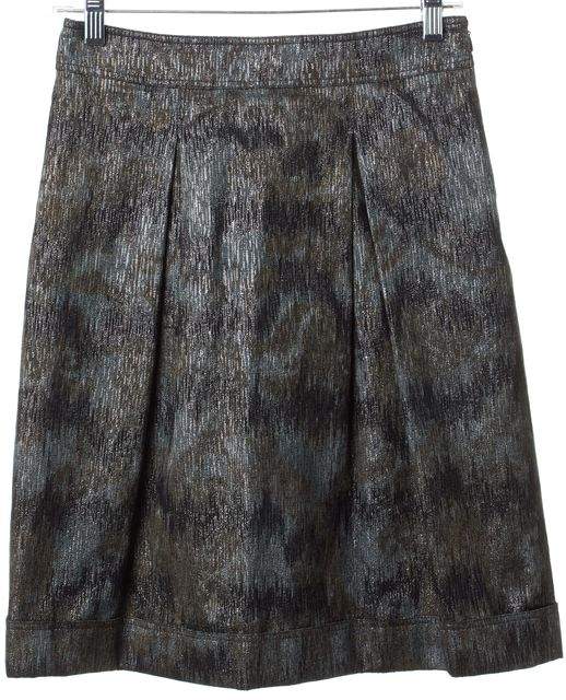 BURBERRY LONDON Black Silver A-Line Skirt