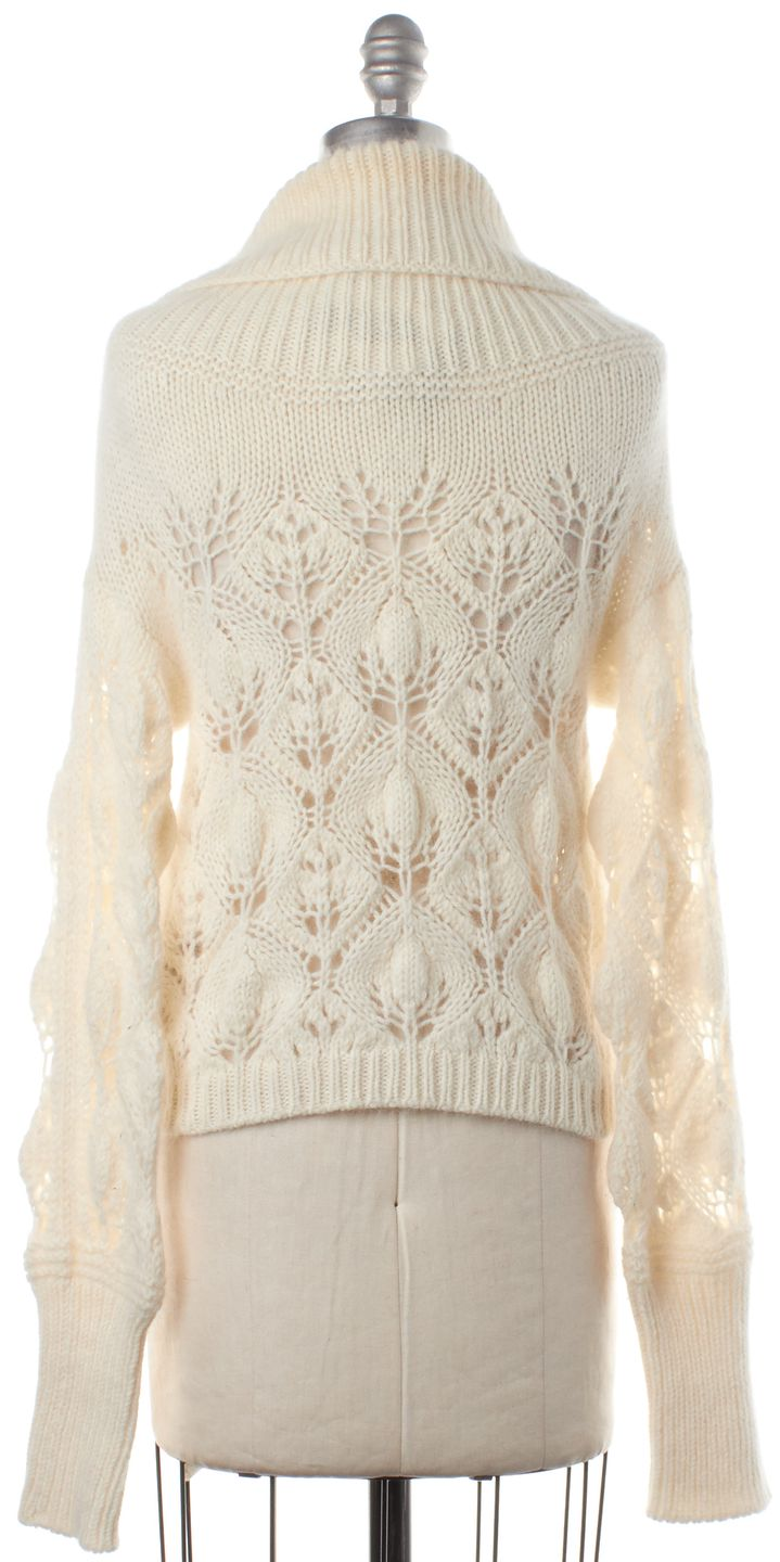 BURBERRY LONDON Ivory Wool Cropped Cowl Neck Sweater