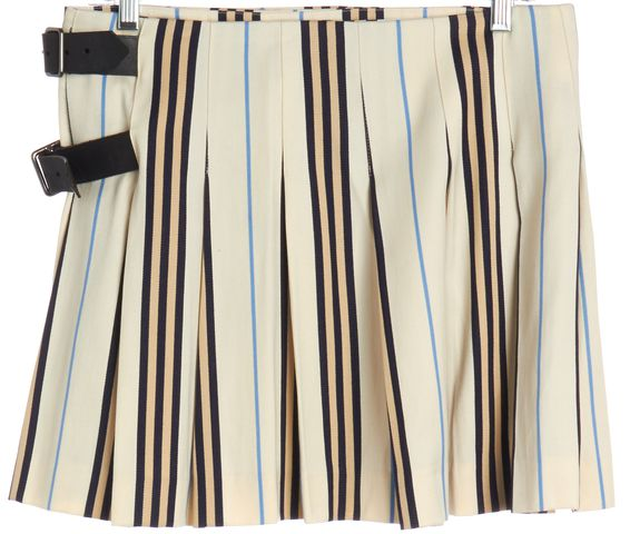 BURBERRY LONDON Ivory Blue Striped Wool Leather Trim Mini Skirt