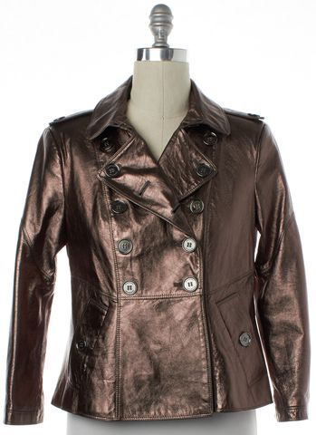 BURBERRY LONDON Bronze Metallic Double Breasted Leather Jacket