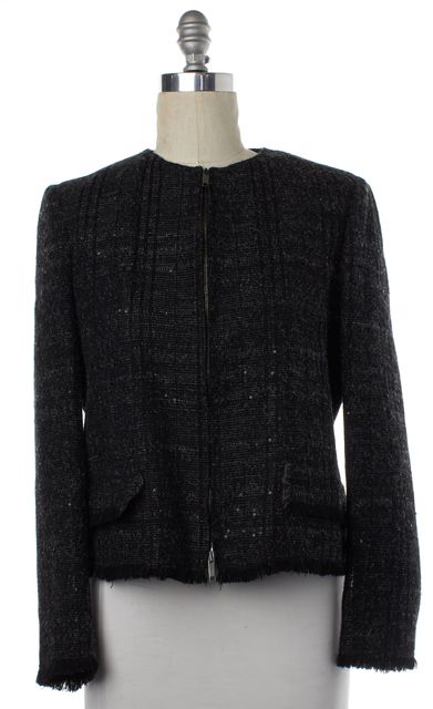 BURBERRY LONDON Black Wool Zip Up Jacket