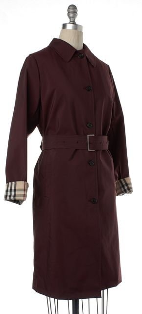 BURBERRY LONDON Burgundy Red Belted Long Coat