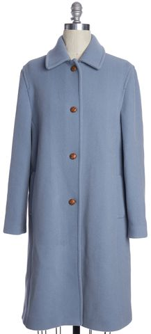 BURBERRY LONDON Baby Blue Leather Button Wool Collared Coat Size 12