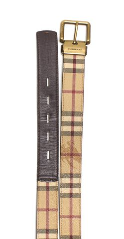 BURBERRY LONDON Beige Haymarket Coated Canvas Leather Skinny Belt Size 40