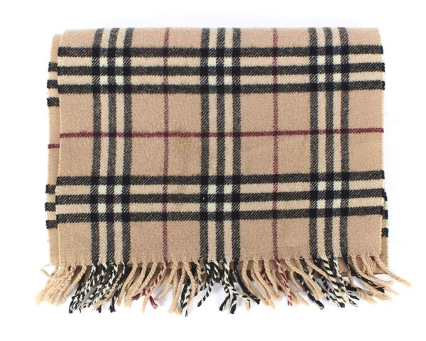 BURBERRY LONDON Beige House Check Lambswool Fringe Scarf