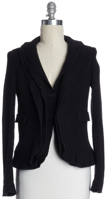 BURBERRY LONDON Black Wool Tiered Jacket