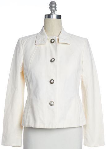 BURBERRY LONDON White Linen Collared Jean Jacket