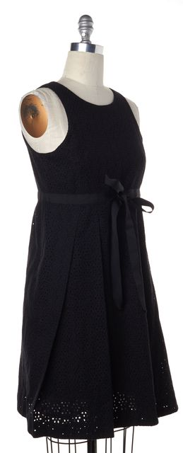 BURBERRY LONDON Black Eyelet Floral Sleeveless Sheath Dress