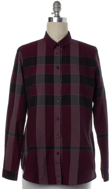 BURBERRY LONDON Purple Black Multi Plaid Button Down Shirt