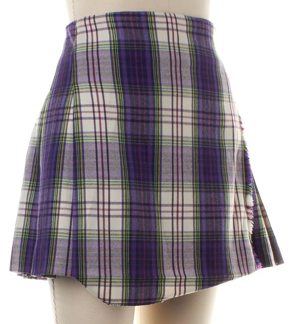 BURBERRY LONDON Purple Wool Plaid Pleated Frayed Skirt