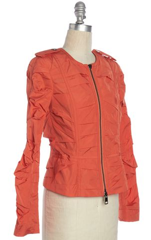 BURBERRY LONDON Orange Ruched Basic Jacket Size 4 UK 6