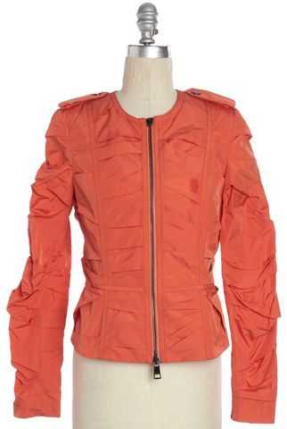 BURBERRY LONDON Orange Ruched Zip Up Jacket