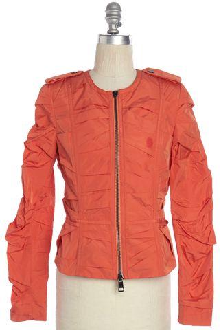 BURBERRY LONDON Orange Ruched Basic Jacket Size 4 UK 6