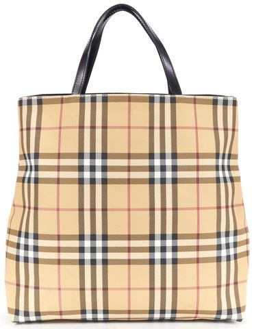 BURBERRY LONDON Authentic Beige House Check Coated Canvas Shopper Tote Bag