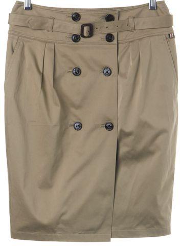 BURBERRY LONDON Biege Cotton Belted Pencil Skirt Size 6 UK 8