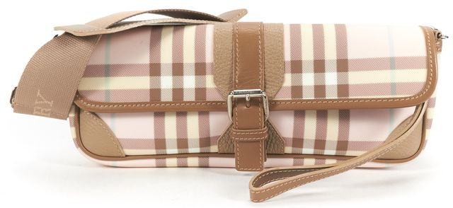 BURBERRY LONDON Pink Beige House Check Canvas Shoulder Bag