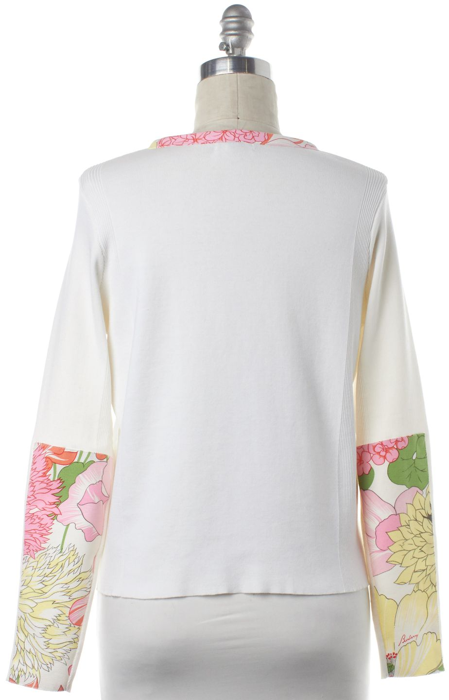 BURBERRY LONDON Ivory Floral Detail Long Sleeve Top