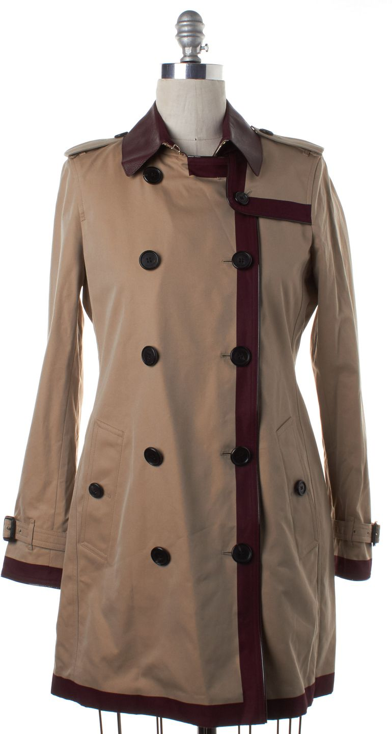 BURBERRY LONDON Beige Burgundy Red Colorblock Trench Coat