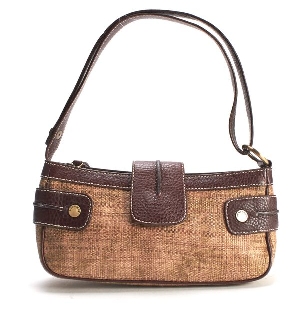 BURBERRY LONDON Brown Leather Woven Raffia Small Shoulder Bag