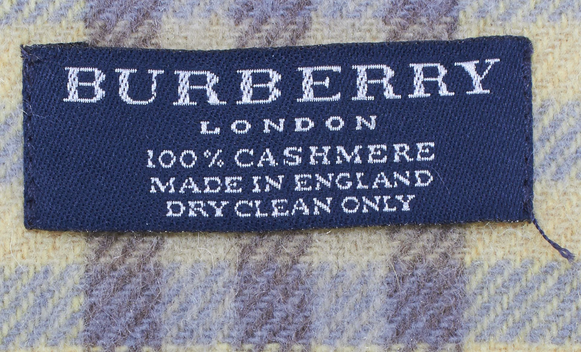 BURBERRY LONDON Yellow Blue Brown Check Cashmere Scarf