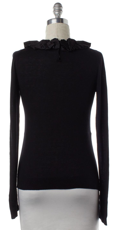 BURBERRY LONDON Black Long Sleeve Ruffle Trim Knit Top