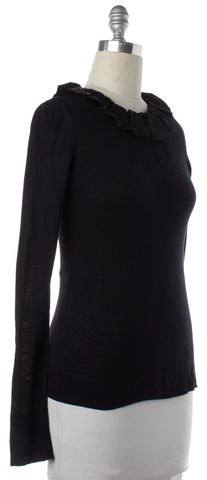 BURBERRY LONDON Black Long Sleeve Ruffle Trim Knit Top