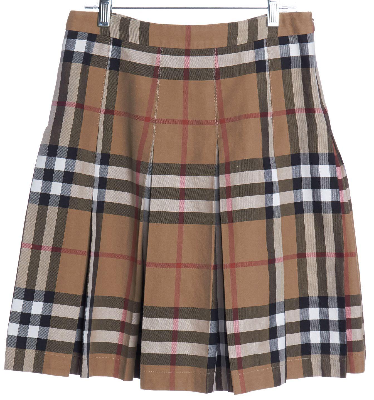 BURBERRY LONDON Brown Plaids Pleated Skirt