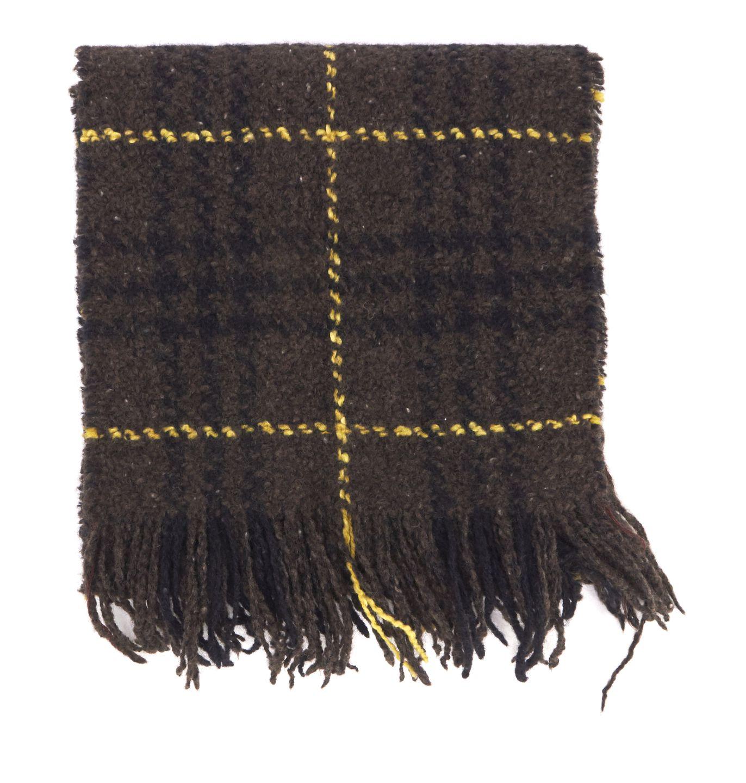 BURBERRY LONDON Brown Plaids Wool Fringe Scarf