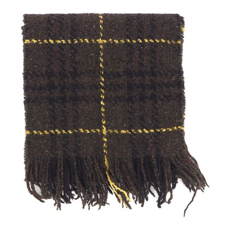 BURBERRY LONDON Brown Plaids Wool Fringe Scarf