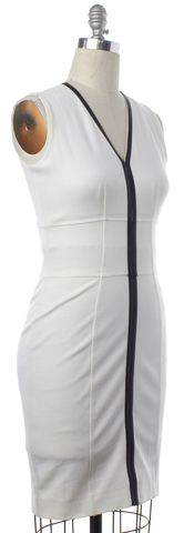 BURBERRY LONDON White Black Faux Leather Trim Sheath Dress